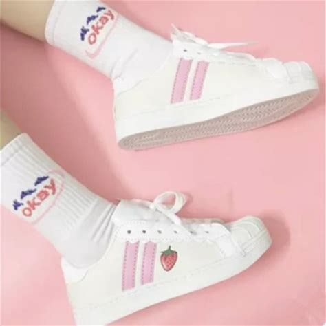japanese strawberry sneakers shoes 183 kawaii