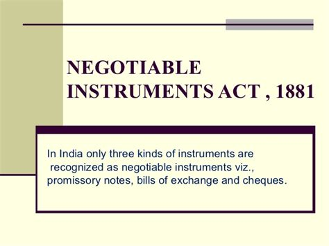 section 1 negotiable instruments law negotiable instruments act 1881