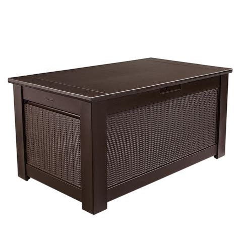 outside bench storage rubbermaid 136 gal chic basket weave patio storage trunk
