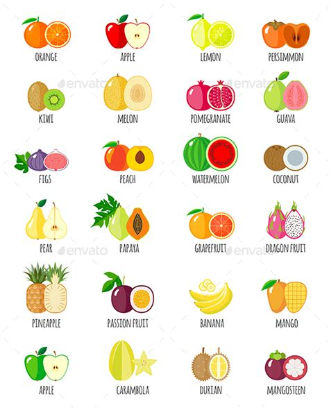 6 fruits name set of fruit icons with their name icons logos and