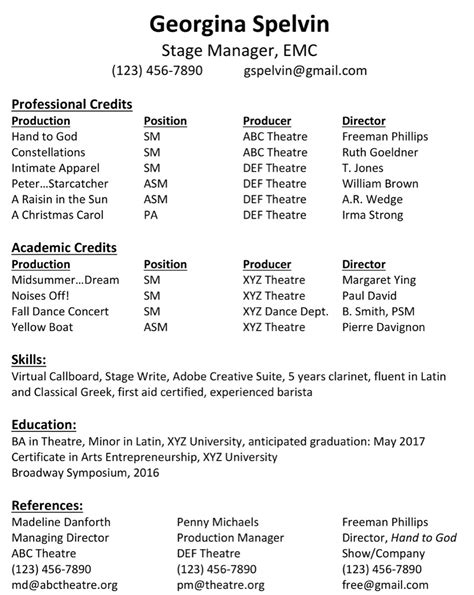 Stage Manager Resume by Stage Manager Resume Printable Planner Template