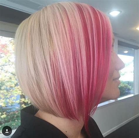 blonde bob pink highlights 22 trendy and tasteful two tone hairstyle you ll love