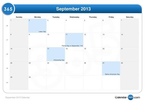 Calendar September 2013 September 2013 Calendar