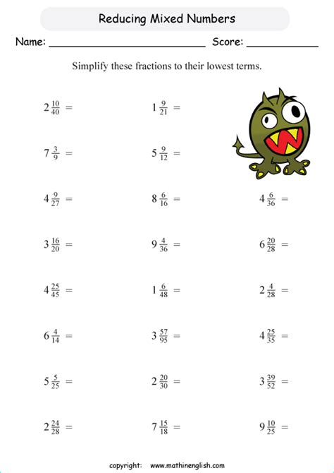 Reducing Fractions Worksheets by Worksheets On Reducing Fractions To Lowest Terms