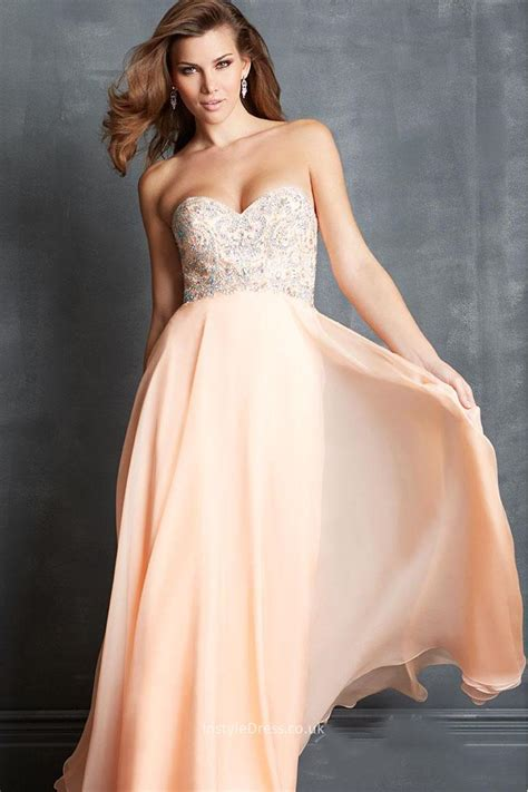 beaded bridesmaid dresses uk strapless a line chiffon floor length beaded prom