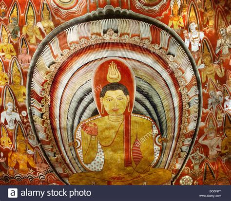 Buddha Wall Mural painting inside buddhist cave temple of dambulla unesco