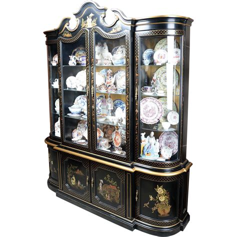 Black Lacquer China Cabinet by Mid Century Black Lacquer China Cabinet With Four Doors