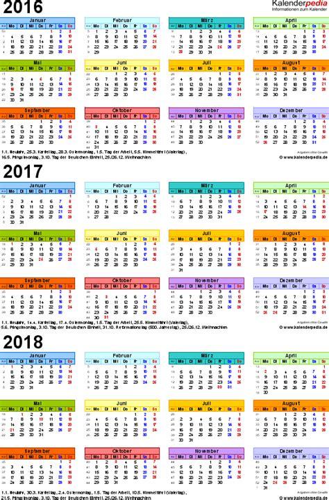 Kalender 2018 Schweiz Querformat In Farbe Dreijahreskalender 2016 2017 2018 Als Pdf Vorlagen Zum