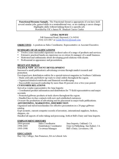 Exle Of Functional Resume by Functional Resume Template 5 Free Templates In Pdf Word