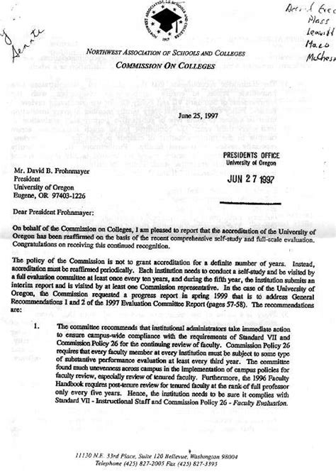 Tenure Evaluation Letter senate documents related to post tenure review
