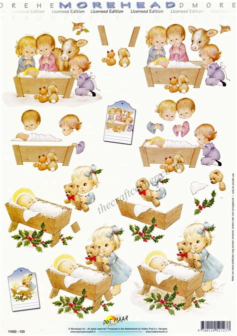 3d Decoupage Paper - morehead children in a nativity 3d decoupage
