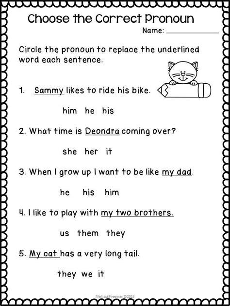 pronouns worksheets my future