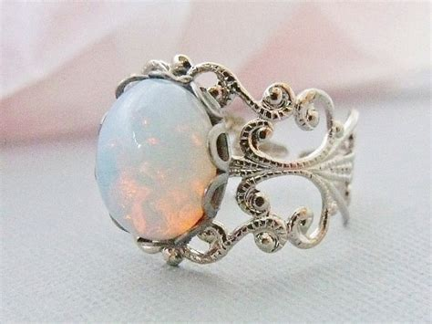 opal ring white opal ring pinfire opal silver adjustable