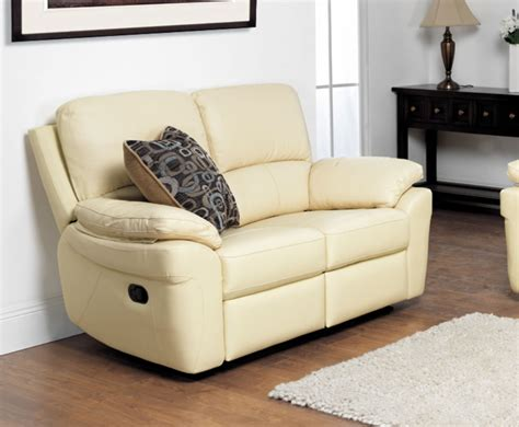Real Leather Recliner Sofa Ivory 2 Seater Genuine Leather Recliner Sofa