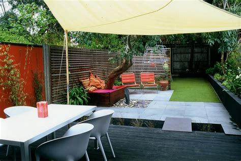 contemporary backyard designs child friendly synthetic lawn low maintenance and