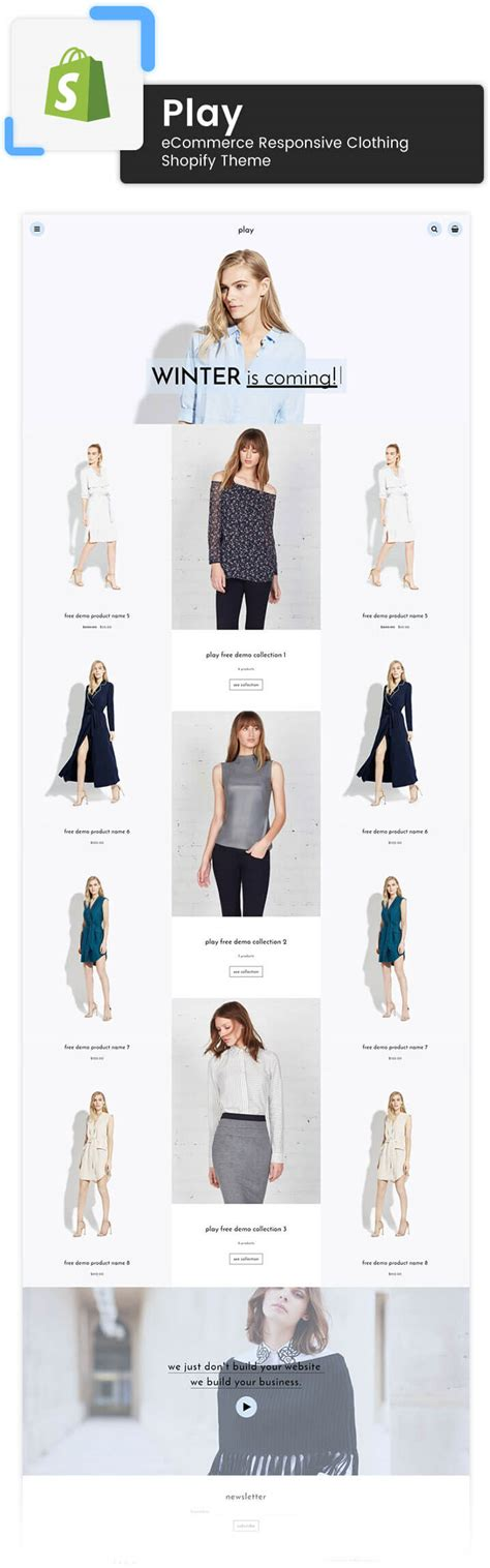 shopify themes clothing play ecommerce responsive clothing shopify theme themetidy