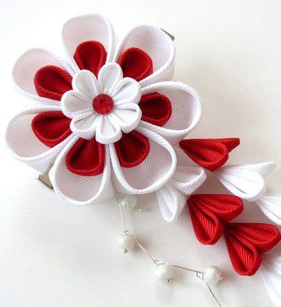 Ribbon Hairclip Jepitan Rambut Pita Grossgrain kanzashi fabric flower hair clip with falls and white
