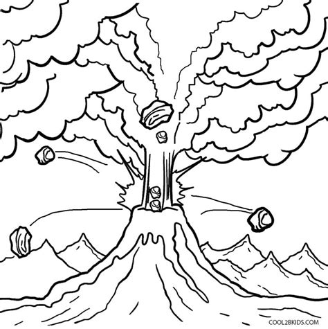 Volcano Coloring Pages