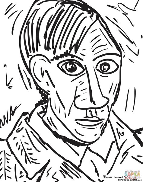 self portrait 1907 by pablo picasso coloring page free