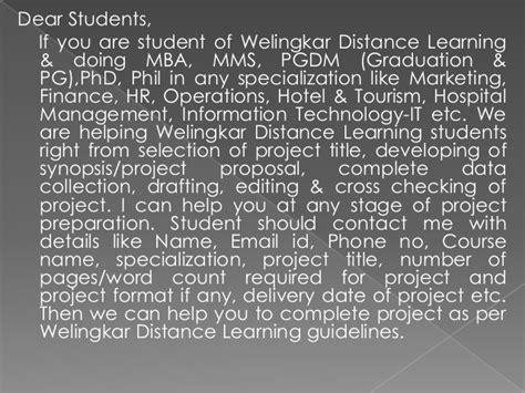Welingkar Part Time Mba In Operations by Mba Project Report Of Welingkar Distance Learning