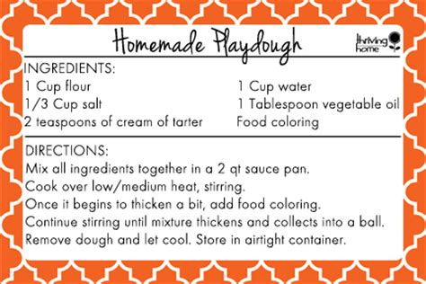 printable playdough recipes easy homemade playdough recipe free printable thriving