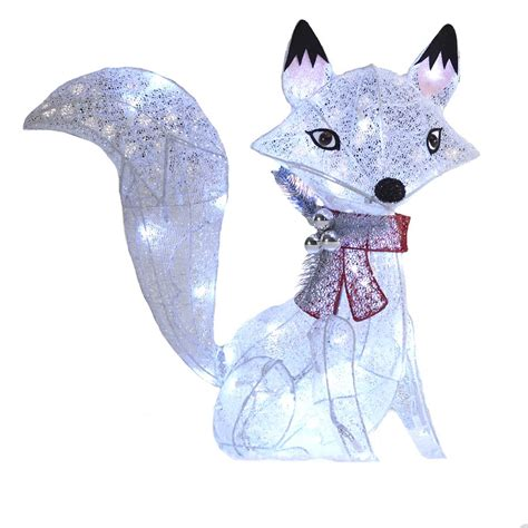 Holiday Living 24 In Lighted Glittered Fox Outdoor Lowes Outdoor Lighted Decorations