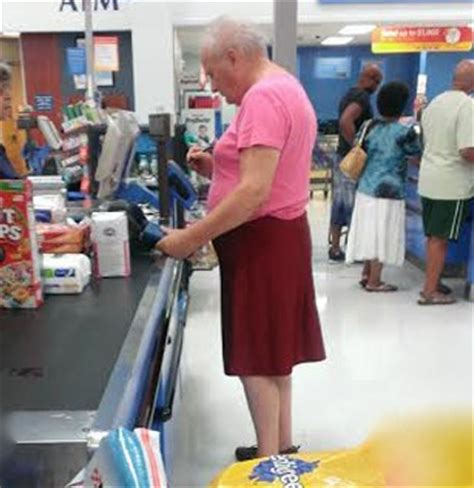 grandpa shops at walmart in a lovely red dress and pink