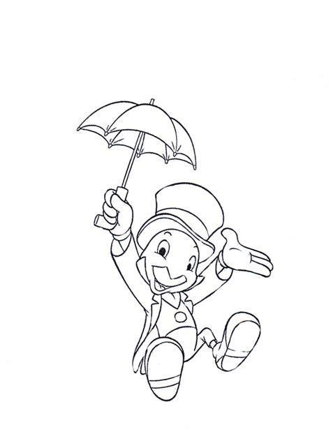 desenho de grilo falante brincando  sombrinha