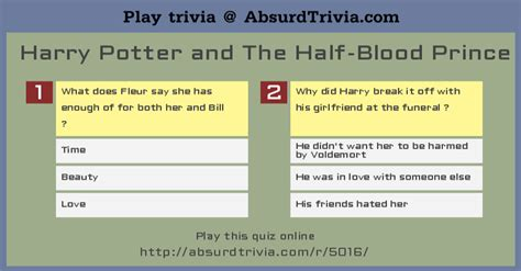 film initials quiz answers harry potter and the half blood prince quiz 2