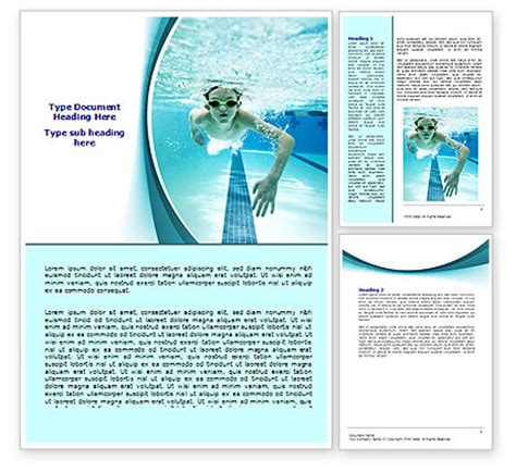 underwater picture of swimming pool word template 07635