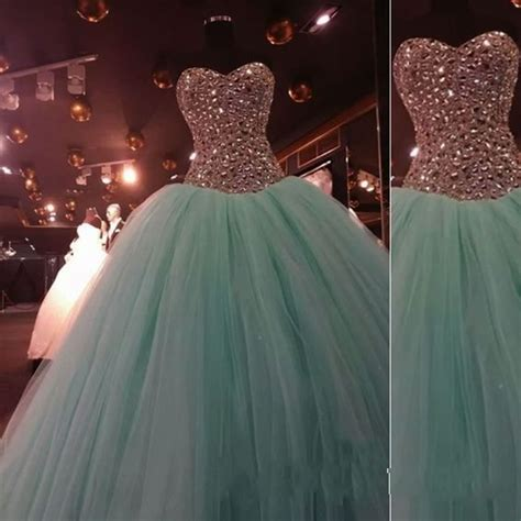 Princess Mint Green Tulle Strapless Long Prom Dress