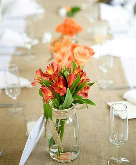 Simple Jar Centerpieces Jar Flowers Centerpiece Jars Flowers