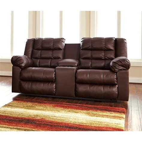ashley reclining loveseat with console ashley brolayne leather double reclining console loveseat