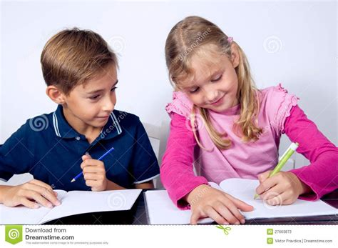 School Children Writing Together Stock Image Image Of Little Lesson 27663873 Images Of Children At School