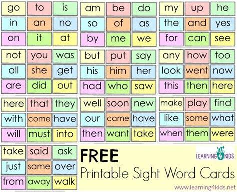 printable kindergarten sight words free printable sight word cards free printable cards