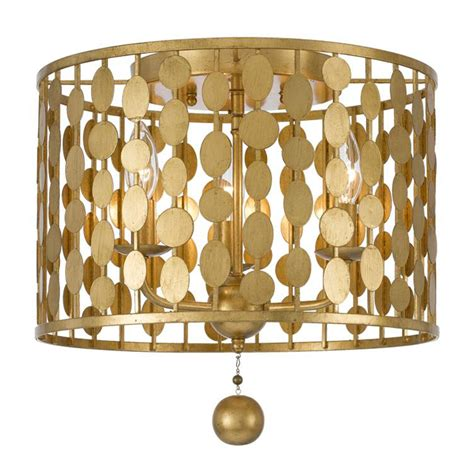 layla three light antique gold ceiling mount by crystorama
