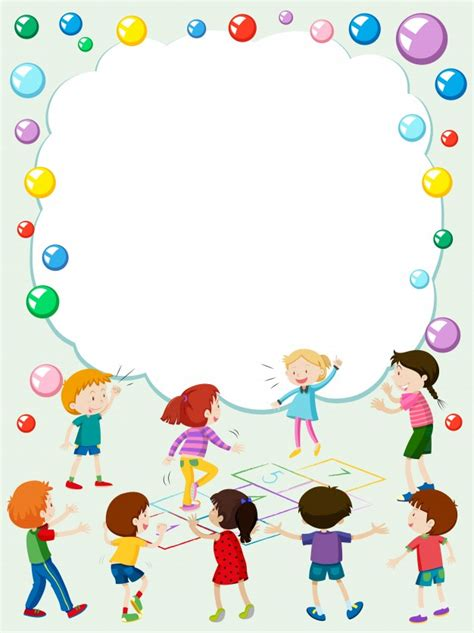 children s card templates border template with hopscotch vector free