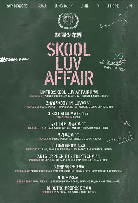 bts song list bts reveals tracklist for quot skool luv affair quot soompi