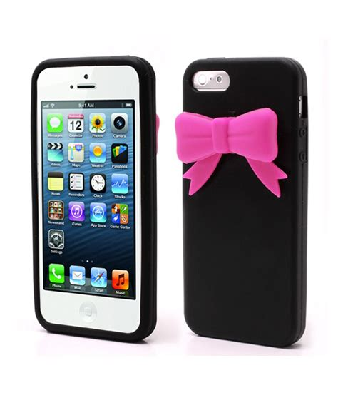xs 3d bowknot soft silicone cover skin for iphone 5 5s black buy xs 3d bowknot soft silicone