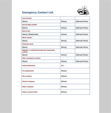 list template for emergency contact sle of emergency