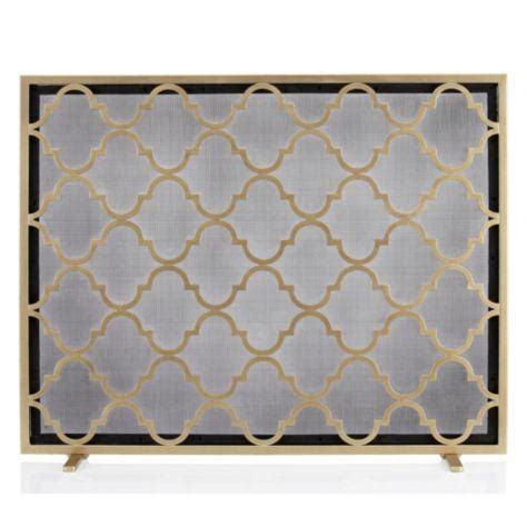 Gold Fireplace Screens by Meridian Quatrefoil Gold Fireplace Screen
