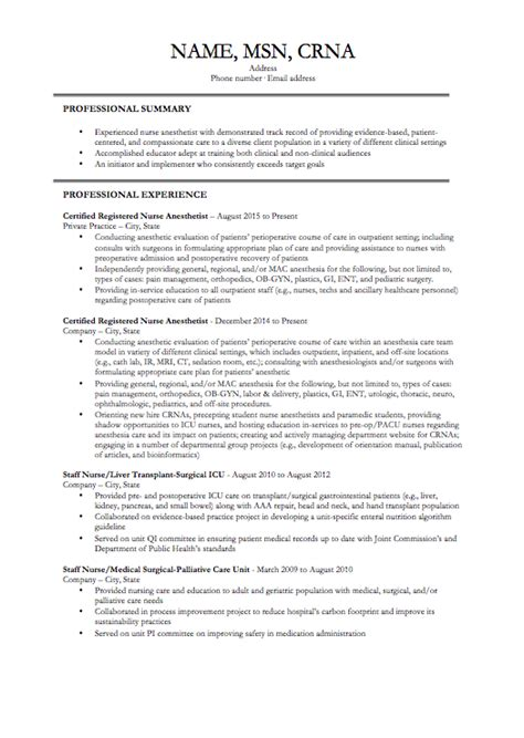 crna resume exles anesthesia cv template cover letter exles for