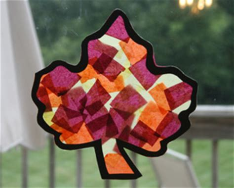 Tissue Paper Leaf Craft - craft ideas for fall haloween