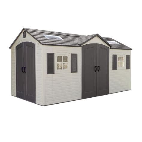 Lifetime Outdoor Storage Shed Lifetime Garden Sheds 60079 8 X 15 Ft Dual Entry Plastic