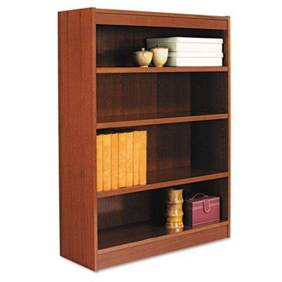 cherry wood corner bookcase alera square corner wood veneer bookcase 4 shelf 35 5 8 x 11 3 4 x 48 medium cherry sold