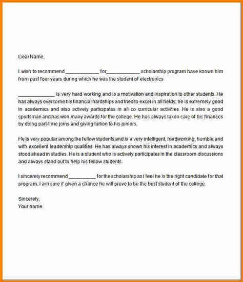 Scholarship Letter Template 6 Sle Letter Of Recommendation For Scholarship Expense Report