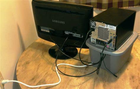 computer cable management  gallon ideas