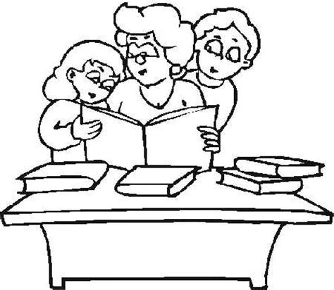 coloring pages of students reading reading coloring page
