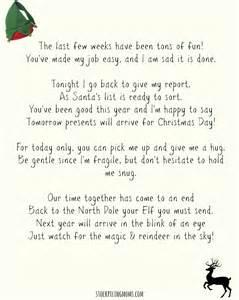 Goodbye letters from elf on shelf template