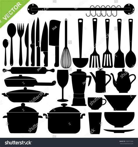 Kitchen Accessories Vector Free Set Kitchen Tools Silhouettes Vector Stock Vector
